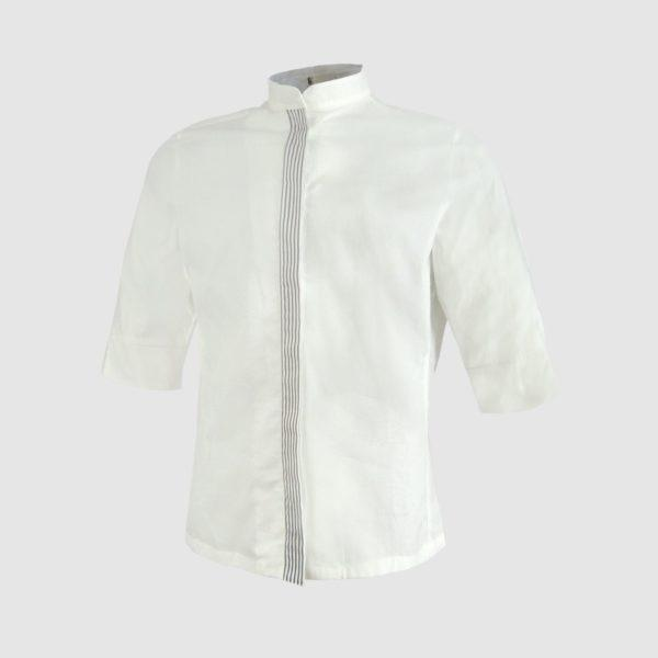 Camisa blanca de manga corta para hombre