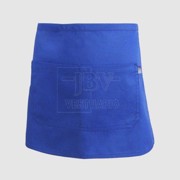 Delantal azul con bolsillo