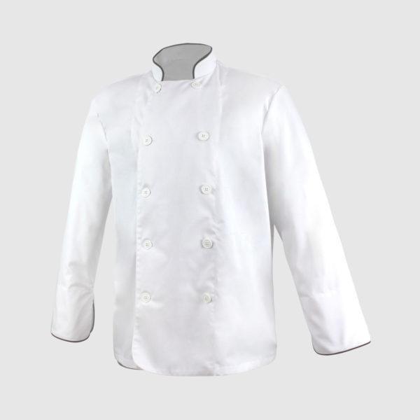 Americana cocinero blanca con vivo negro